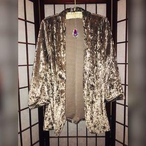 Jackets & Blazers - Crushed velvet champagne dress blazer fits 8-10